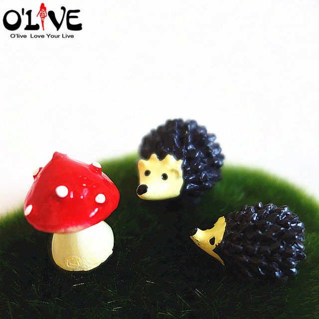 Delightful 3 Pcs Set Hedgehog Mushrooms Fairy Garden Miniatures Home Decorations  Kawaii Resin Crafts Figurines Bonsai Micro