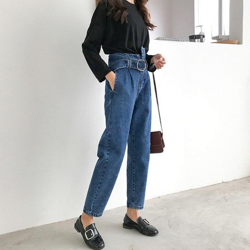 Boyfriend Jeans Cintura Mezclilla Personalidad Alta Asimétrica Mujeres Con Azul Para Vaqueros Pantalones Mujeres Moda De Correa TTwdrAx