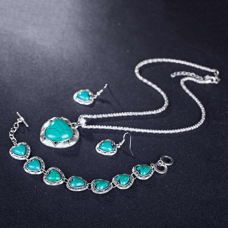 2018 New Styles Heart Blue Stone Jewelry Set Vintage Antique  Necklace Sets Pendant Earring Bracelet For Women Jewelry for gift