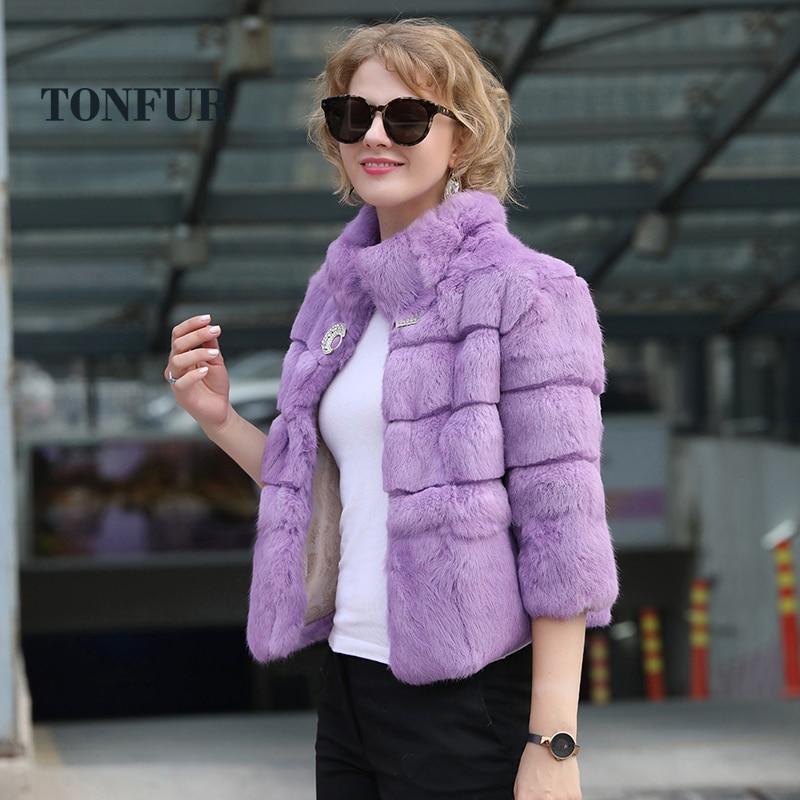 2019 New Mandarin Collar Short Jacket 100 Full Pelt Genuine Real Rabbit Fur Coat Stripe Line
