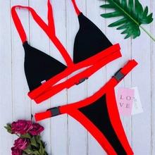 Women Bikini Push Up Halter Buckle Border