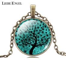 LIEBE ENGEL Life Tree Pendant Necklace Art Glass Cabochon Necklace Bronze Chain Vintage Choker Statement Necklace