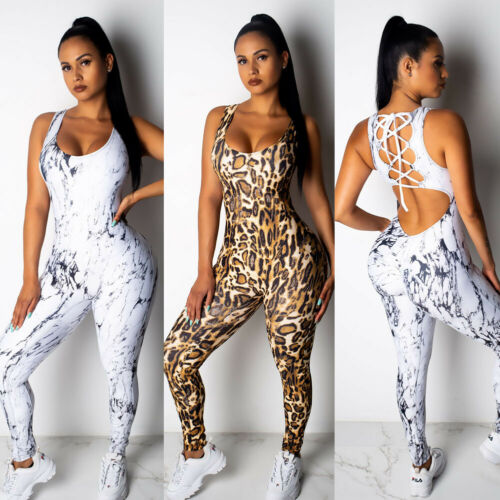 Sexy Women Sport Gym Romper 2019 New Summer Leopard Sleeveless Backless Fitness Running Ladies Jumpsuit Bodycon Clothes S-XL