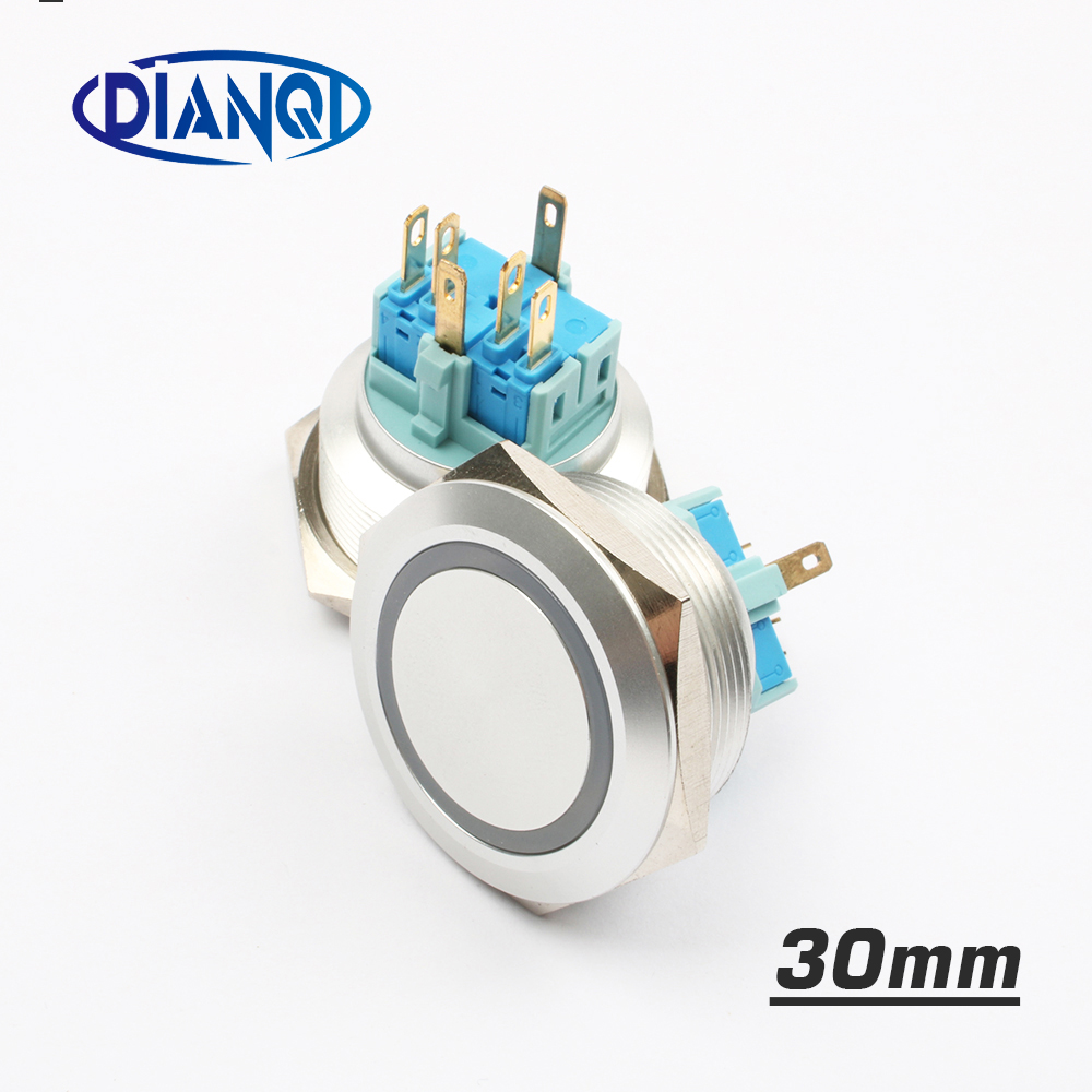 30mm Stainless steel metal push button switch flat round ring mark LED momentary 6 pin car switches reset latching fixation 1 x 16mm od led ring illuminated latching push button switch 2no 2nc