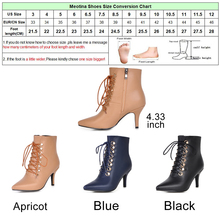 Meotina Women Winter Boots High Heels Ankle Boots Sexy Thin Heel Zip Black Boots Lace Up Shoes Big Size 42 43 botines mujer 2018