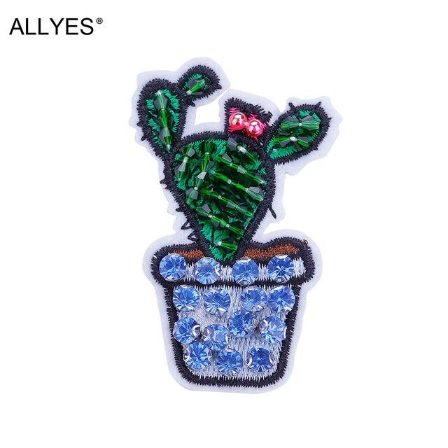 Allyes прекрасным Зеленый Кактус брошь для Для женщин Обувь для девочек одежды мешок значок Jewelry Вышивка акрил Бусины Кристалл Шпильки и Броши