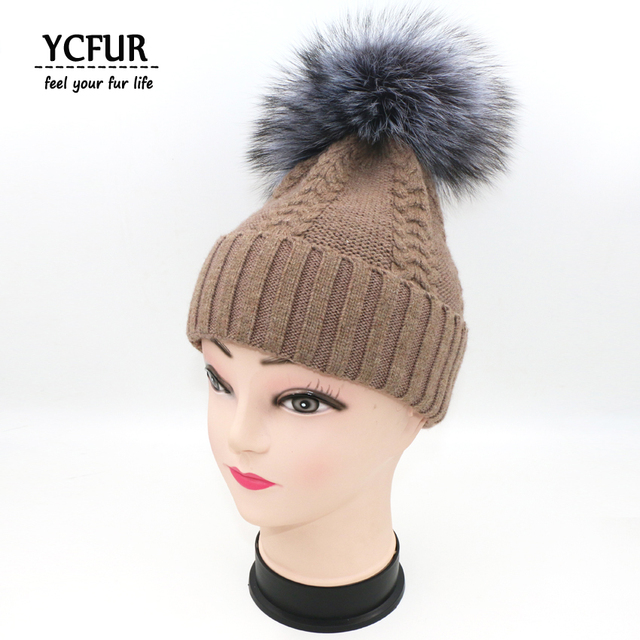 YCFUR New Brand Design Women Hats Winter 2016 Knit wool Beanies with Large Silver Fox Fur poms Hats Real Fur Caps Girls