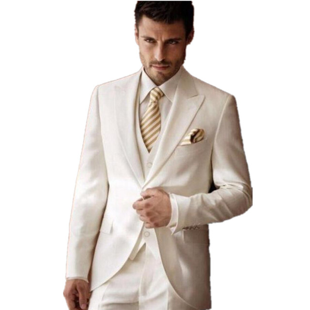 ivory Wedding Suits for Men Tuxedos Peaked Lapel Groomsmen Suits 3 ...
