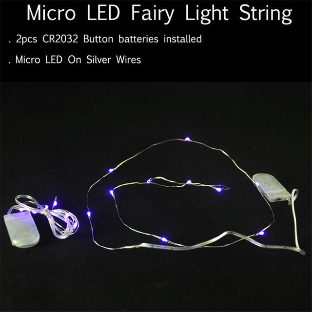 Battery Operated String Lights 1 M 10 Leds Waterproof Silver Wire Rope For Party Home Bedroom Wedding