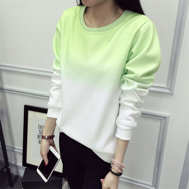 2019 Fall Winter Fashion Cool Gradient Hit Color Women Hoodies Sweatshirt Street Full Sleeve Loose M-XXL Tracksuits Female 4