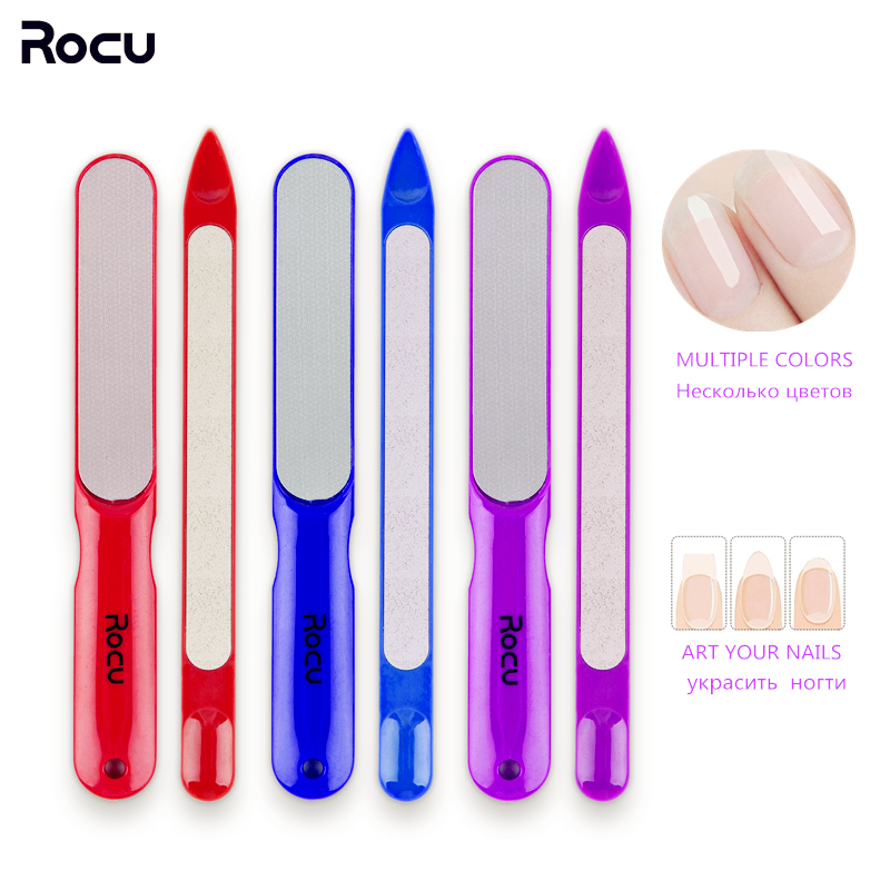 Rocu 2pcs Pro Nail File Set Dual Sided Stainless Steel Metal Polish Buffer Manicure Pedicure Tools Nail Art File Styling Tools