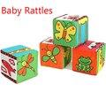 Baby chocalhos blocos de pano macio brinquedo de pelúcia Building Block precoce brinquedos educativos coloridos do bebê chocalho para crianças presentes