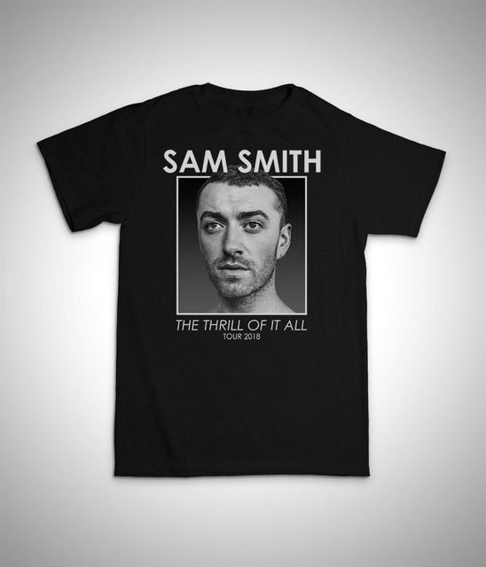 f07c1770a62a SAM SMITH - THE THRILL OF IT ALL Tour 2018 unisex T Shirt women men music  UK EU High Quality Personality
