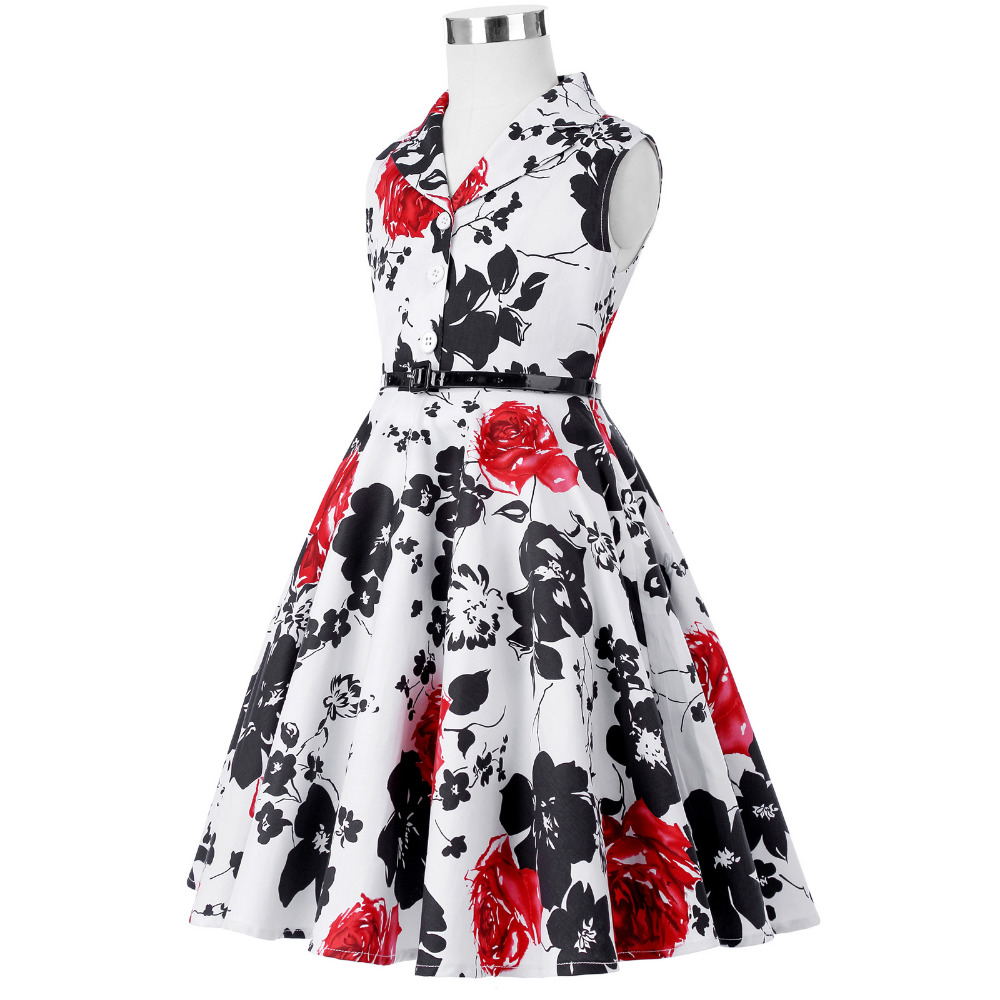 Grace Karin Flower Girl Dresses for Weddings 2017 Sleeveless Polka Dots Printed Vintage Pin Up Style Children's Clothing 27
