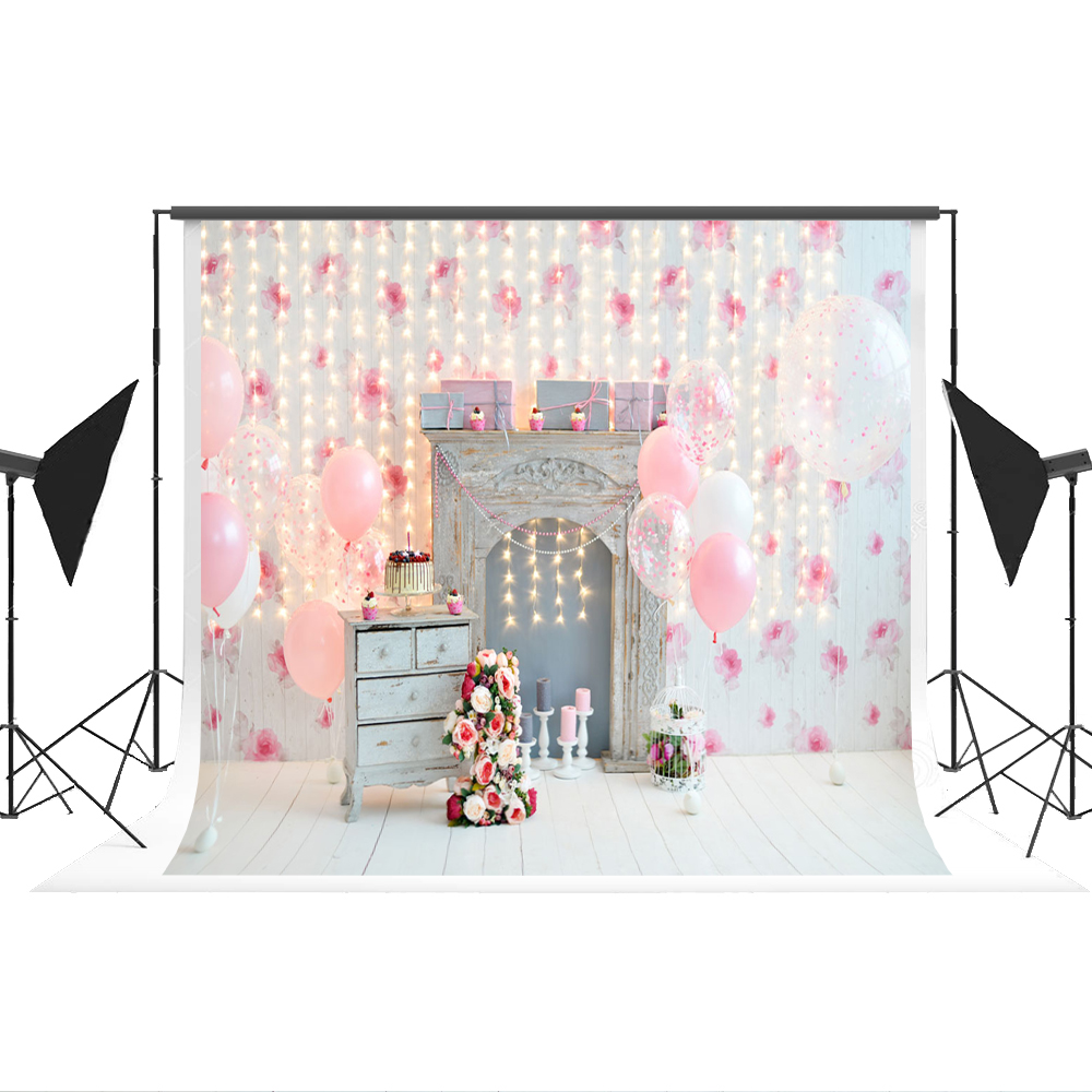 Kate Pink Backdrop Photography Birthday Party Ballon Photo-backdrop Cotton Portrait Photography for Child Photo Shoot Studio 7x5 5 x 7 ft pink love hearts print photo backdrop for wedding party portrait photography studio background s 1305