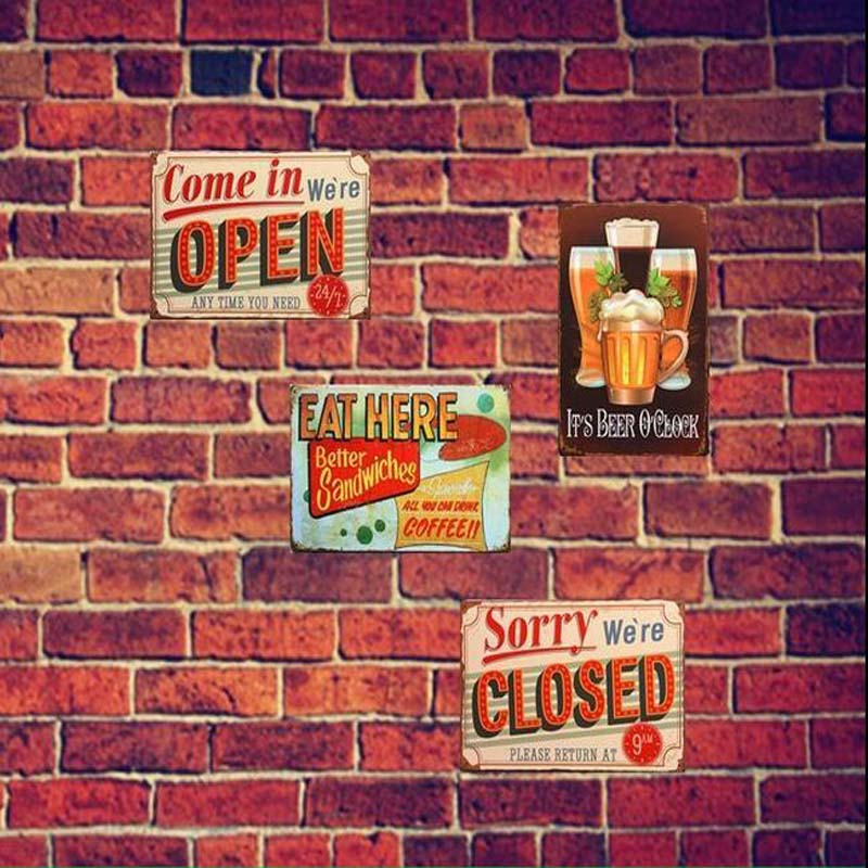 Open And Closed  Vintage Tin Sign Bar pub home Wall Decor Retro Metal Art Poster 20 x30cm laser virtual keyboard