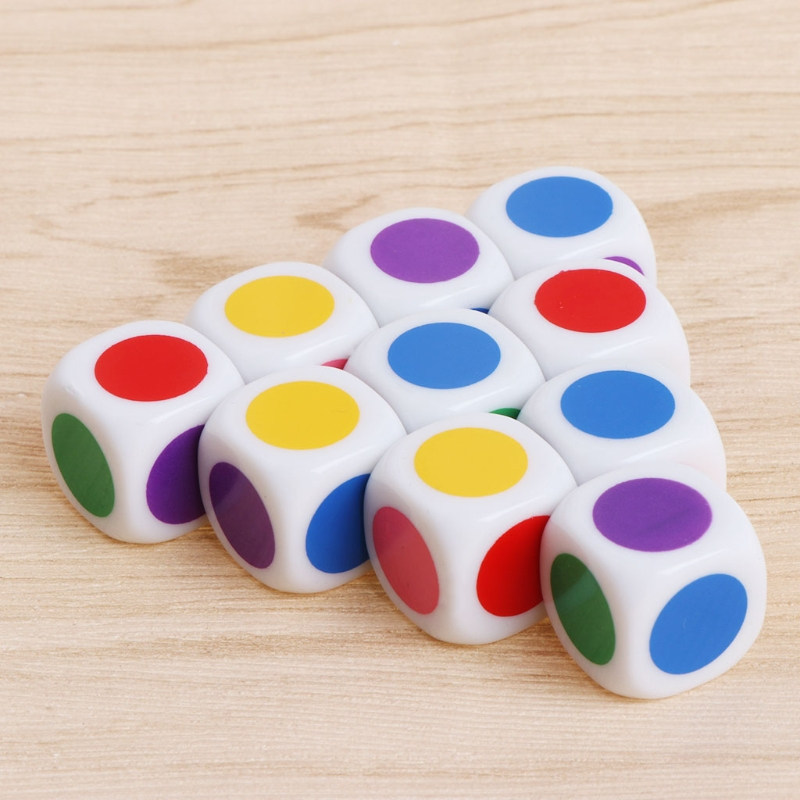 10 Pcs/set 15mm Multicolor Acrylic Cube Dice Beads Six Sides Color Dice Portable Table Games Toy