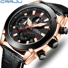 CRRJU Luxury Brand Men Analog Leather Sports Watches Men's Army Military Watch Male Date Quartz Clock Relogio Masculino 2019(China)