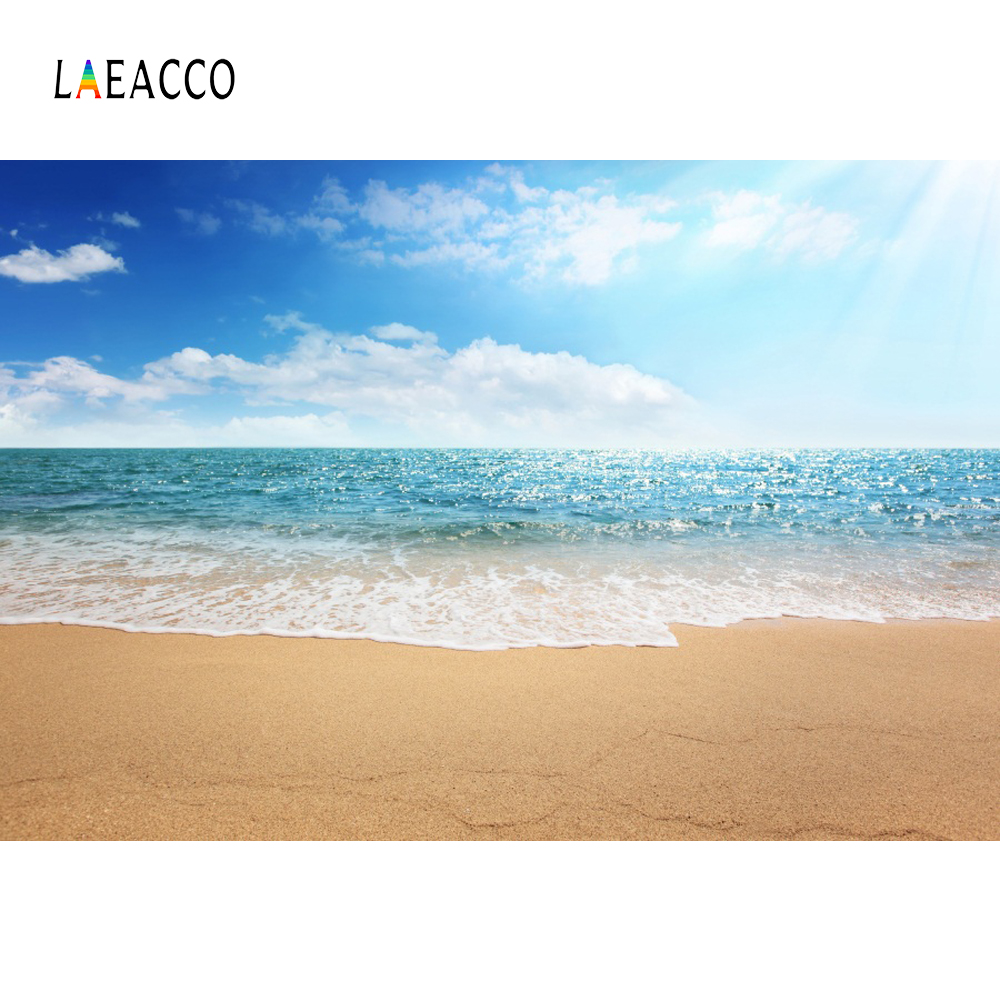 Laeacco Beach Blue Sky Seaside Scenic Baby Party Photography Backgrounds Customized Photographic Backdrops For Photo Studio