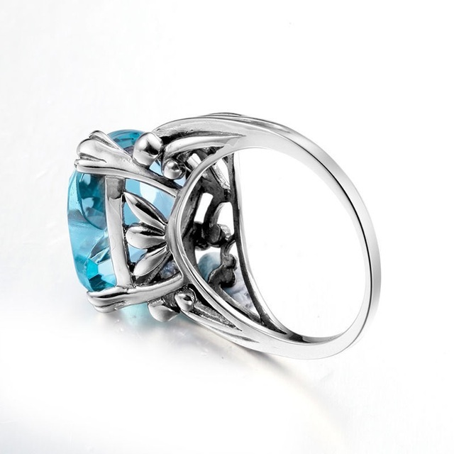 Blue Heart Topaz Sterling Silver fashion Ring  4