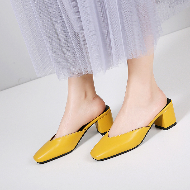 Bimolter PU Summer Slippers Women 2019 Concise Plus Size Solid Rubber Yellow Women Mules Square Toe Womens Slippers Outdoor B010 in Slippers from Shoes