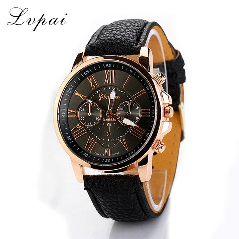 Lvpai Top Brand  Hot Fashion Casual Leather Strap Watch Gold Ladies Wristwatch Sport Women Fashion Luxury Quartz Watch