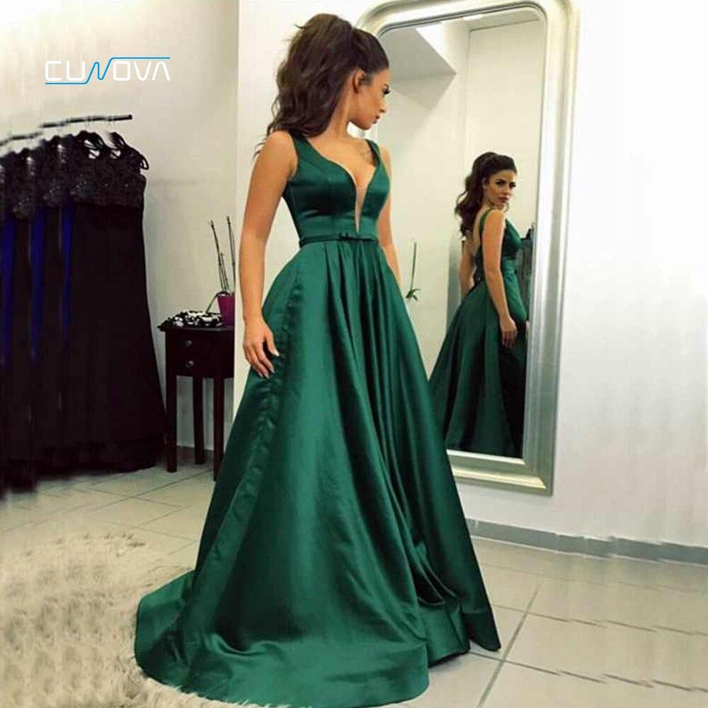 Sexy poitrine couture robe de soirée longue 2019 vert Satin dos nu formelle robe de soirée multicolore a-ligne robe de bal avec paquet
