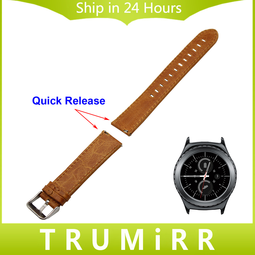 20mm Genuine Leather Watchband Quick Release Strap for Samsung Gear S2 Classic SM-R732 SM-R735 Watch Band Wrist Bracelet Brown стоимость