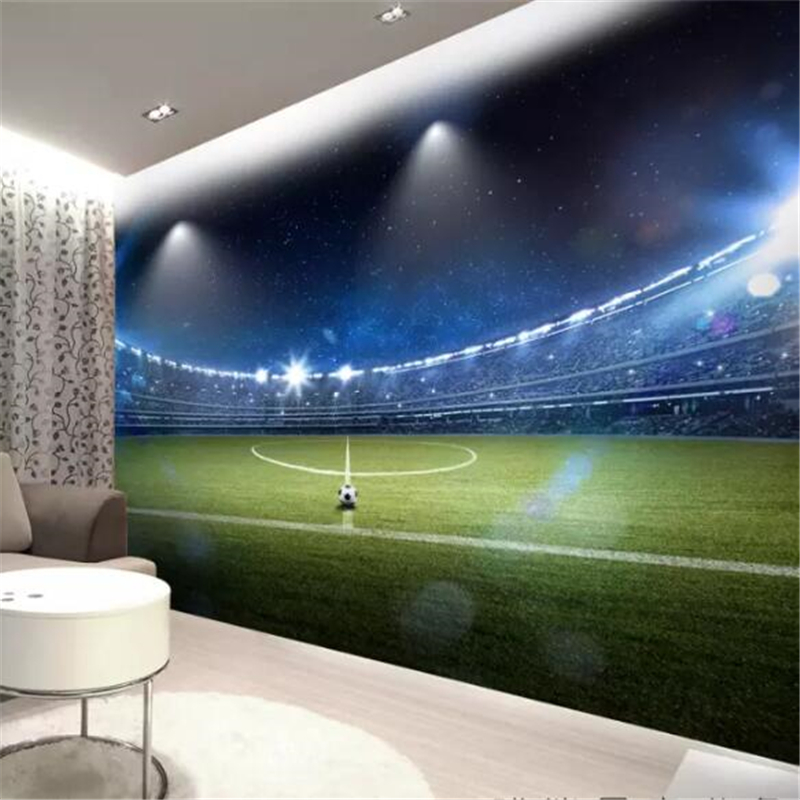 Us 8 85 41 Off Beibehang Custom Wallpaper 3d Solid Mural Painting Huge Football Field Background Wall Paper Decoration Painting Papel De Parede In