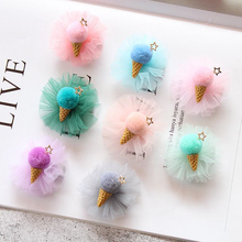 Cute Girls' Tulle Fluffy Ball Pom Pom Ice Cream Hair Clips Pompom Star Lined Alligator Hairpin Hair Accessories HC075