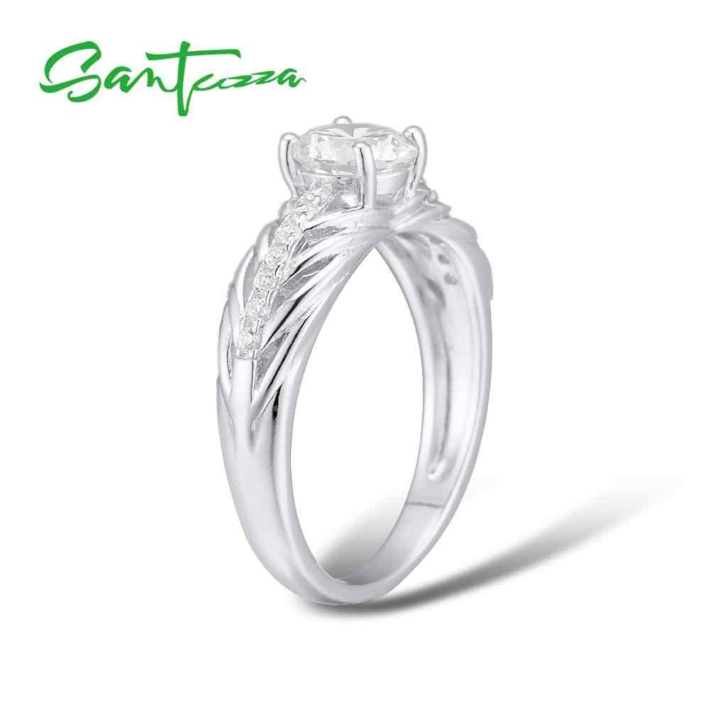 Santuzza เงินแหวนแหวนหมั้นแต่งงานแหวนหิน CZ แหวนเงินแท้ 925 แฟชั่นเครื่องประดับ