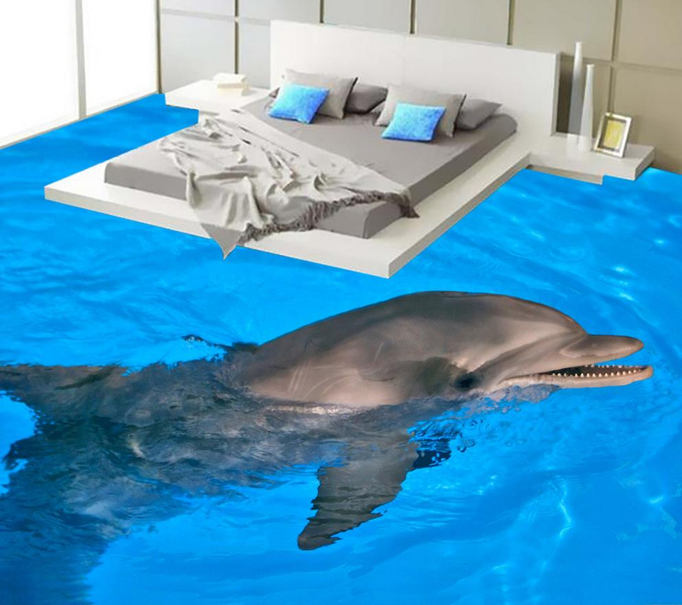 Dolphin Bathroom 3d Wallpaper Floor 3d Wall Murals