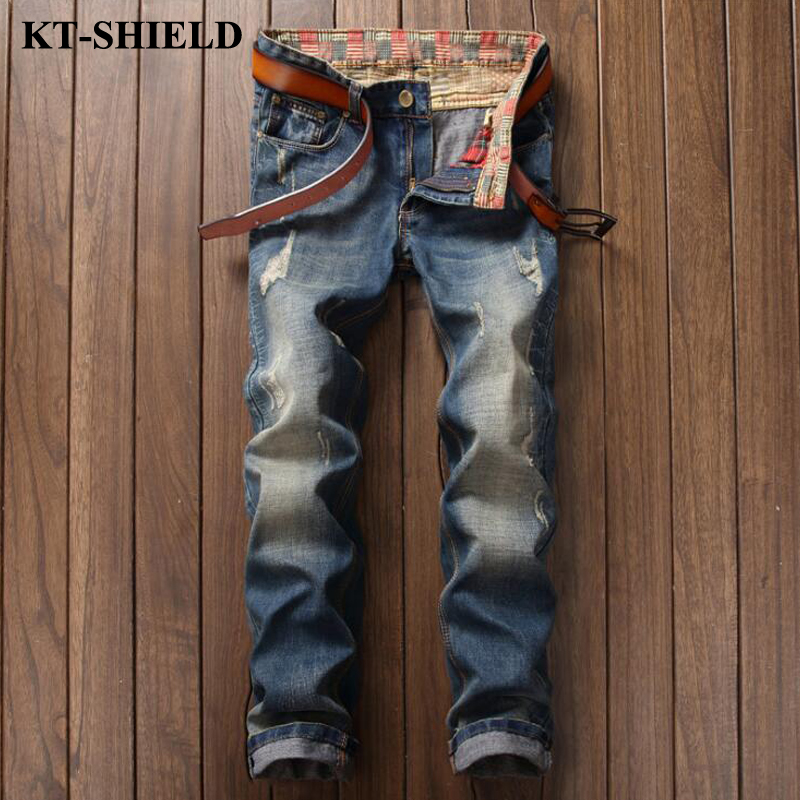 New Fashion Jeans Men Straight Denim Trousers Masculina Famous Brand Ripped Vaqueros Hombre Cotton Blue Casual
