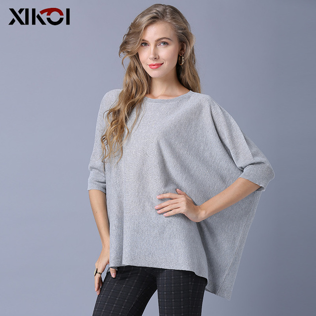 XIKOI Fashion Women Knitted Sweaters Oversize Casual Short Pullover Loose Shirt Sweater Solid Half Batwing Sleeve Pullovers 3