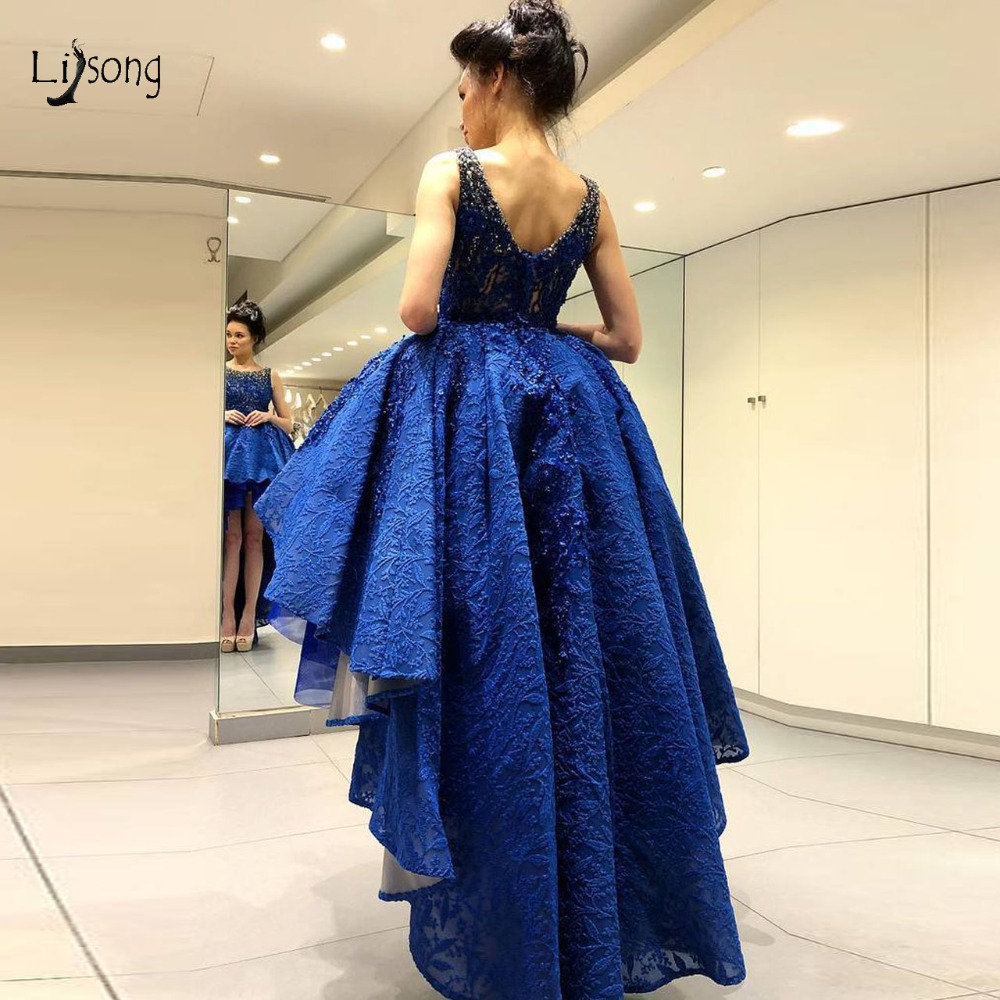 Suadi Arabic Royal Blue Lace High Low   Prom     Dresses   2019 Pretty 3D Flower Beaded   Prom   Gowns Fashion Party   Dresses   Vestidos Longo