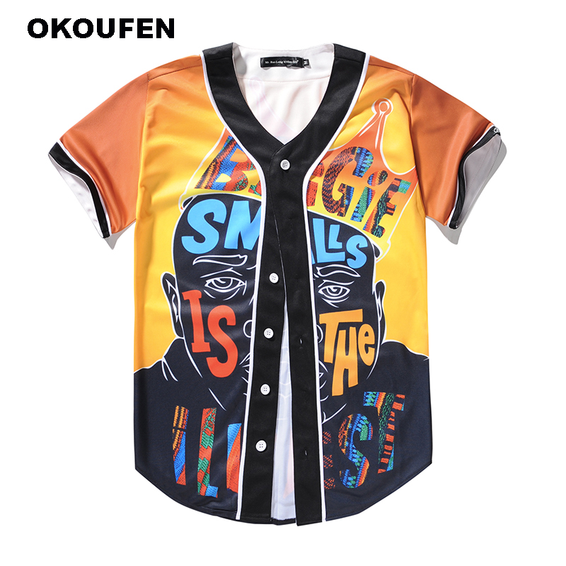 OKOUFEN Hot Sale Creative Print T Shirt Men/Women Fashion Hip Hop Button T-Shirt Short Sleeve Baseball Jersey Brand Men Clothing