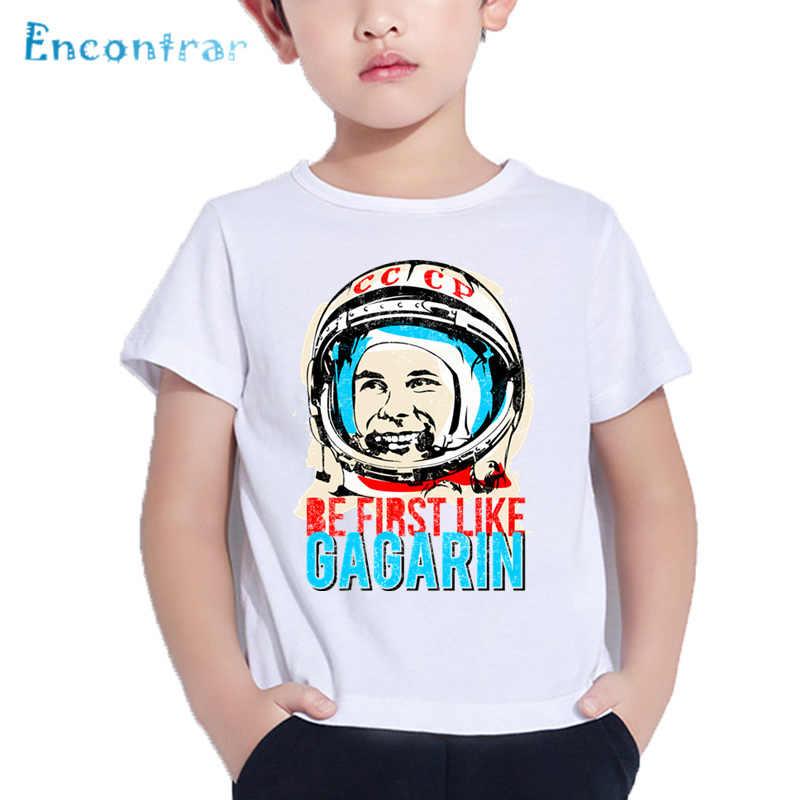 Anak-anak Pro Kitty Uni Soviet Gagarin Cetak T Shirt Anak Laki-laki dan Perempuan Uni Soviet Rusia Desain Ruang Tops Musim Panas Putih t-shirt, ooo2437