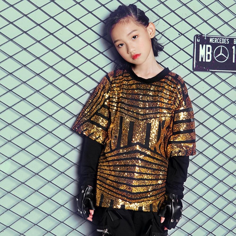 d4adbd4f4 Children Paillette Glitter Dancewear Hip Hop Jazz Sequin Street ...