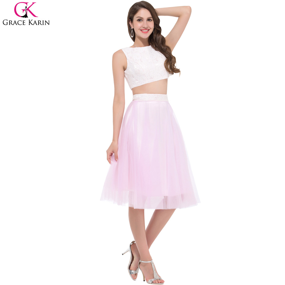 Cute Two Piece Prom Dresses Pink