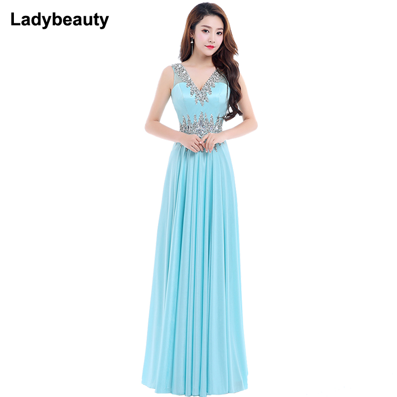 Ladybeauty New 2018 Long Beading   Evening     Dress   Blue Double V Neck Cheap   Evening   Gowns Sleeveless Prom Party Formal   Dresses