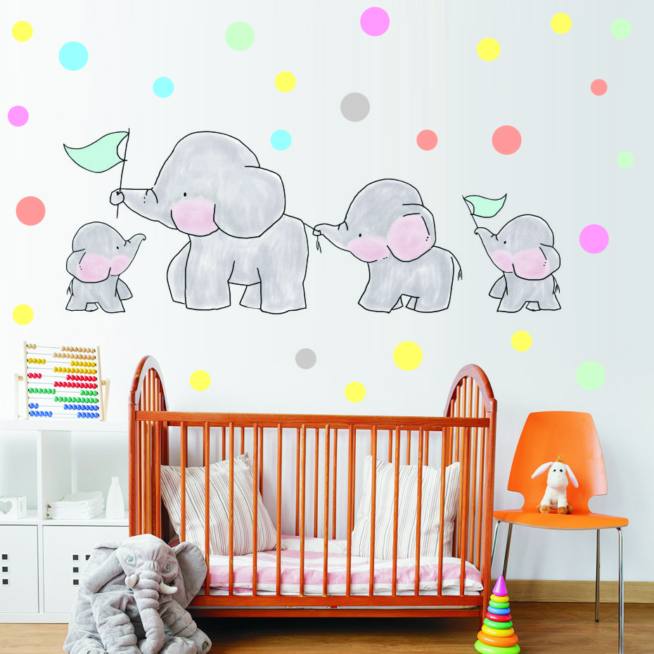 Us 3 74 25 Off Cute Cartoon Elephants Polka Dots Wall Decals Art Vinyl Animal Stickers For Nursery Baby Kids Room S Bedroom Home Decor In