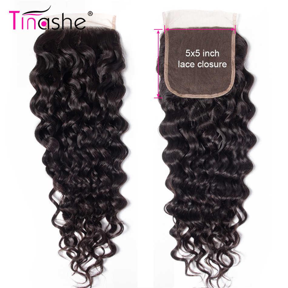 Tinashe Haar Braziliaanse Water Wave Lace Sluiting Gratis/Midden Deel Natuurlijke Kleur Remy Human Hair 5x5 Inch zwitserse Kant Sluiting