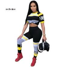 Echoine Women 2 Piece Set Star Letter Printed O-Neck Short Sleeve Sexy Crop Tops Long Pencil Pants Elastic Slim Suits Sportswear