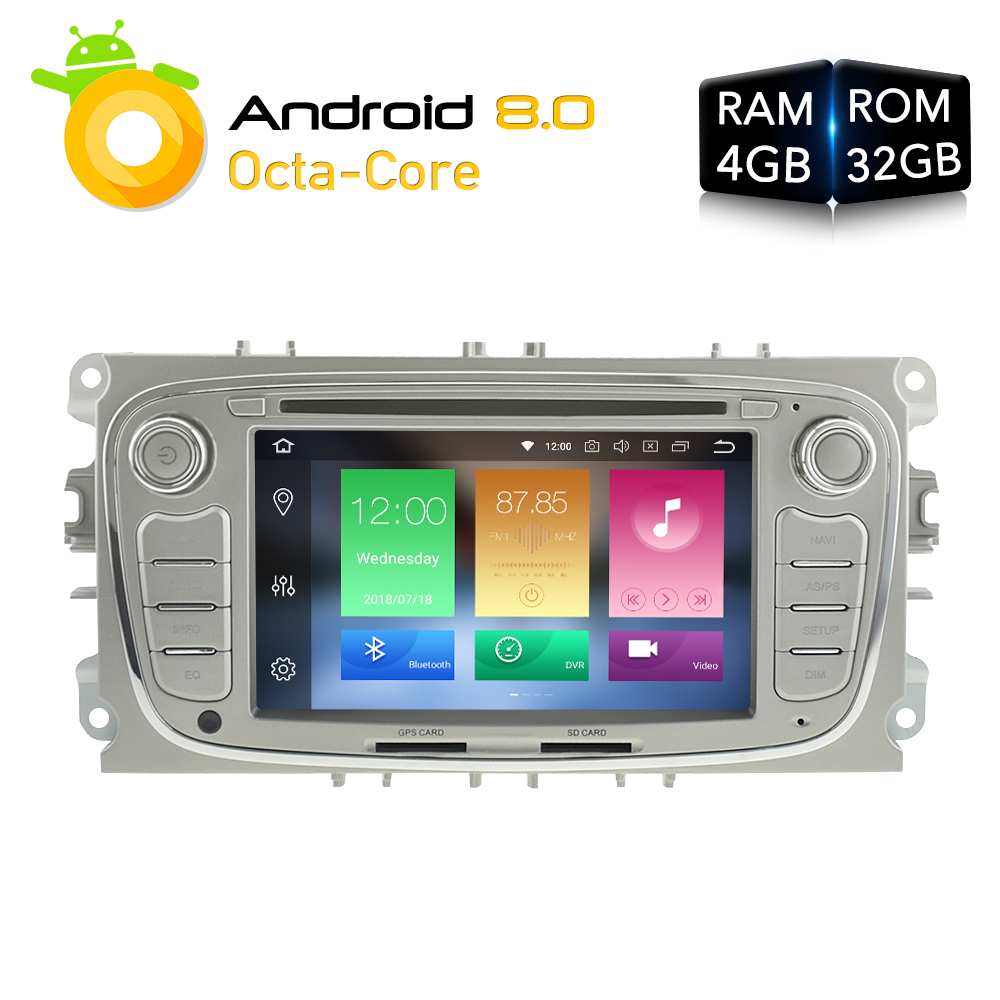 Octa Core Android 8.0 Car Radio GPS Navigation Stereo For FORD Focus 2  2008-2010 Mondeo S-MAX  Auto Audio Ram 4g 32g