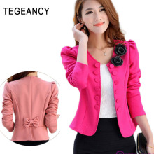 TEGEANCY Women Floral Blazer Bow Brand White Short Blaser Female Large Plus Size Tops Long Sleeve  XXL Feminino Work Wear Suit