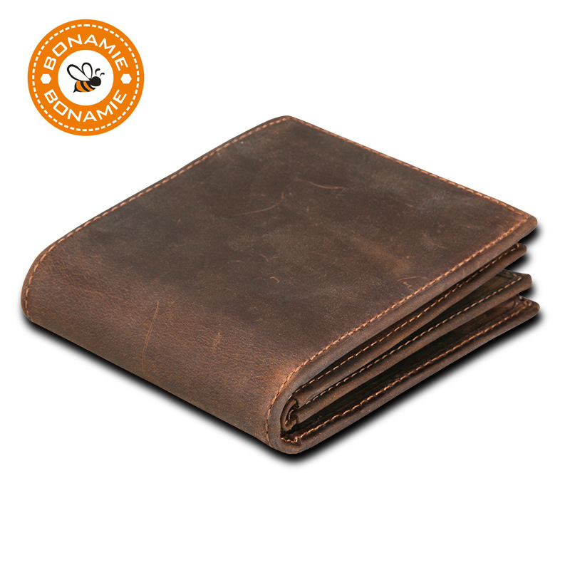 BONAMIE 새 100 % 정품 가죽 남성 지갑 동전 지퍼 미니 남성 지갑 카드 소지자와 유명한 작은 짧은 Carteira