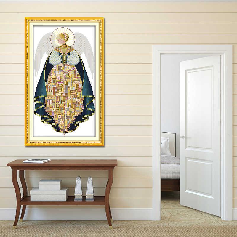 Вышивка с ангелом Золотая нить и Французский узел Сделай своими руками Аида Хлопок Холст Картина вышитая картина наборы для вышивки крестом