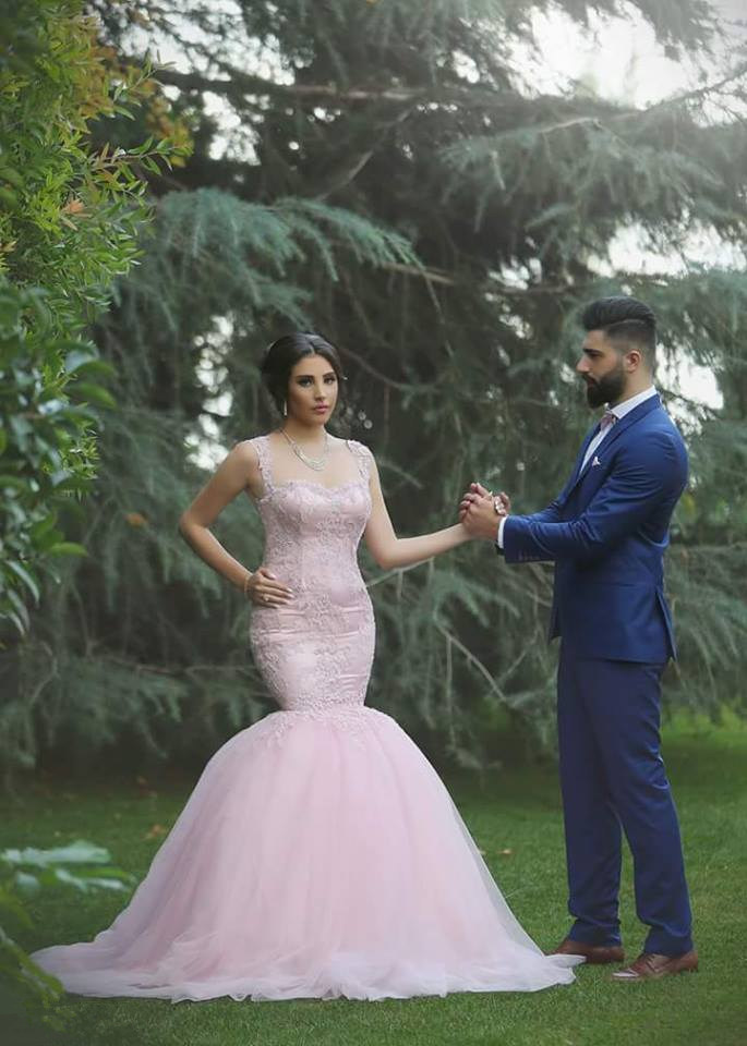 sexy see though back hot sale sleeveless mermaid light pink wedding dresses tulle with appliques vestido