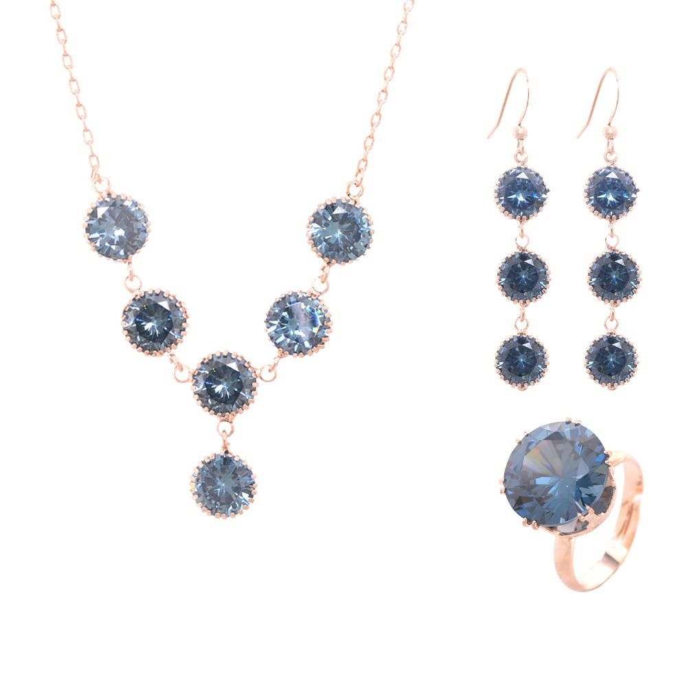 New Trendy Round Rhinestone Drop India Jewelry Sets Jewellery Crystal Pendant Gold Color Earring Ring Necklaces Set Gift in Bridal Jewelry Sets from Jewelry Accessories
