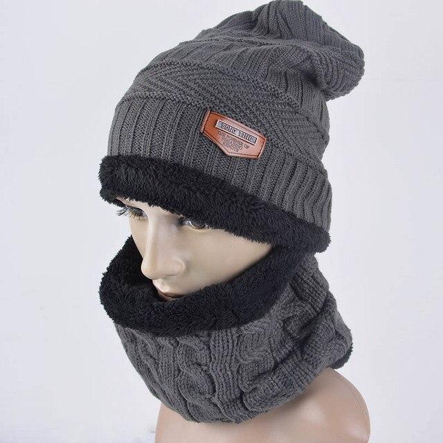 87296bfae20 Chaud polaire laine doublure cache-cou anneau écharpe et bonnet tricoté  chapeau d hiver